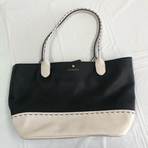 Liz Claiborne Black and cream tote bag